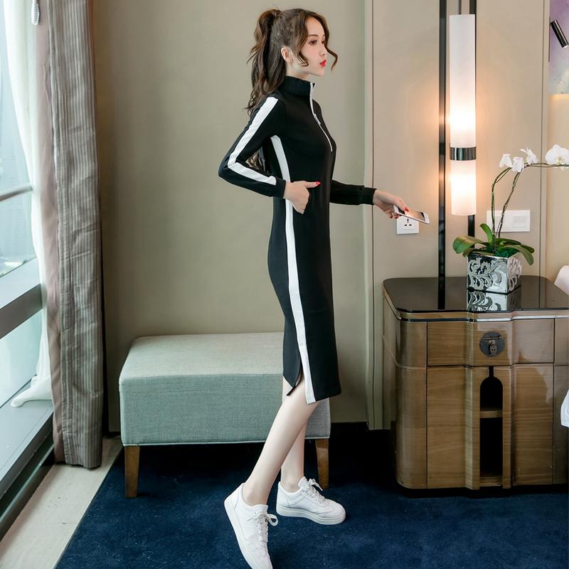 卫衣裙女秋季2018新款韩版学生宽松中长款甜美时尚长袖打底连衣裙