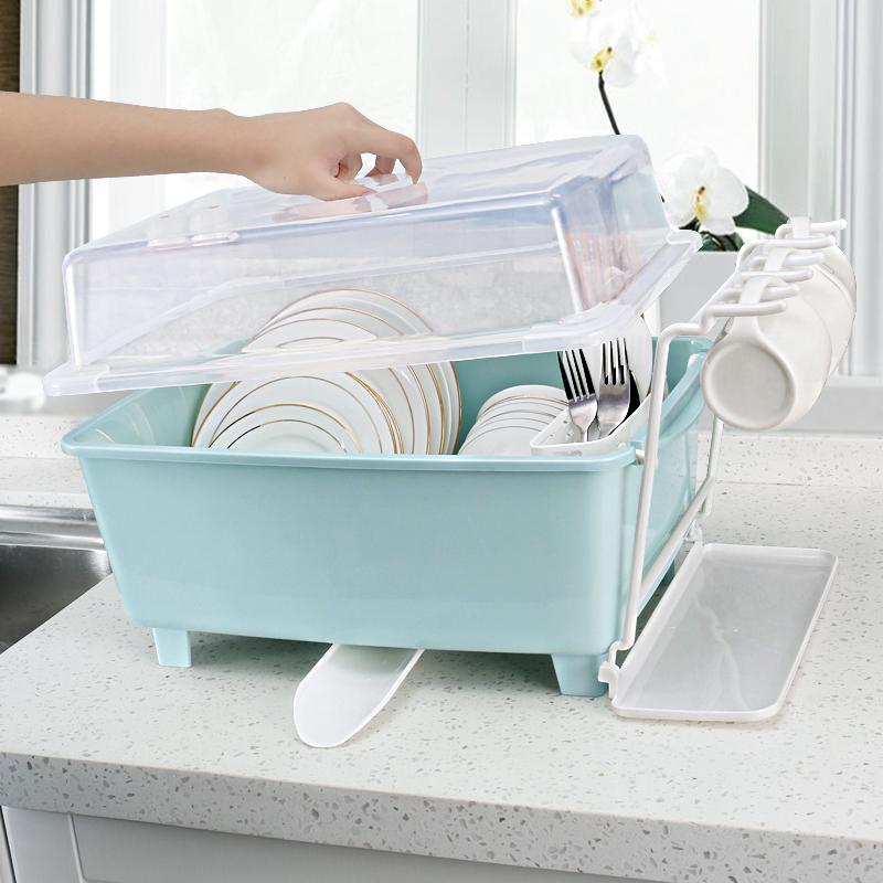 厨房放碗柜塑料带盖沥水碗架碗筷收纳箱放餐具碗筷收纳盒碗盘架子