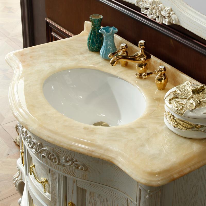 欧式实木浴室柜组合红橡实木落地洗手台洗脸盆组合仿古卫浴柜定制