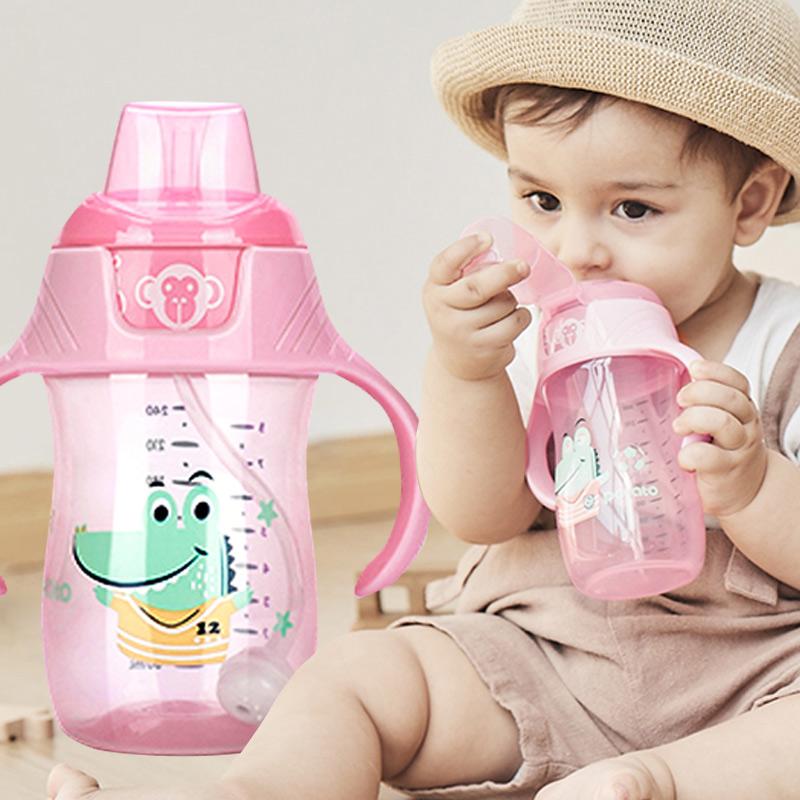 小土豆婴儿学饮杯学生吸管杯儿童鸭嘴杯便携手柄防摔防漏宝宝水杯