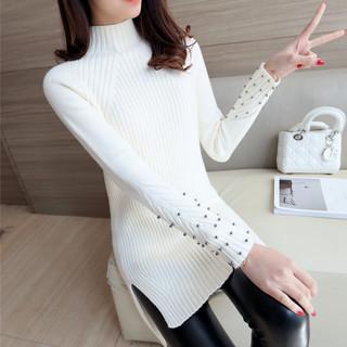 红惑冬装新款加厚高领纯色时尚钉珠毛衣