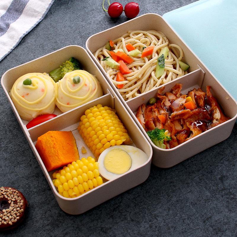 健身减肥餐分格成人双层日式上班族便当饭盒套装男女小学生微波炉