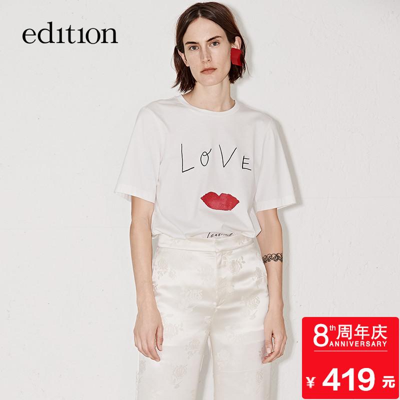 edition字母印花T恤夏宽松纯棉直身圆领短袖EA182TEE209 moco