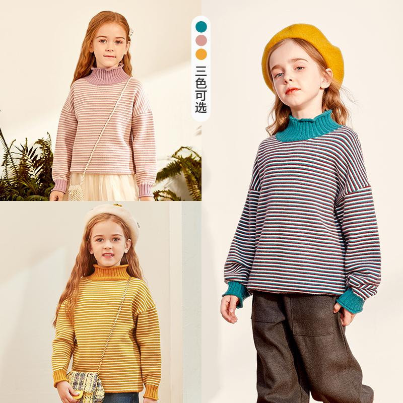 巴拉巴拉旗下女童毛衣2020秋冬新品儿童洋气韩系撞色加厚套头衫女