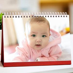 定做2019台历定制印刷个性宝宝照片日历公司商务台历实木插卡台历
