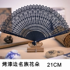 Веер 中国风全竹扇子女式镂空雕花折扇迷你小扇日式和风小巧工艺扇