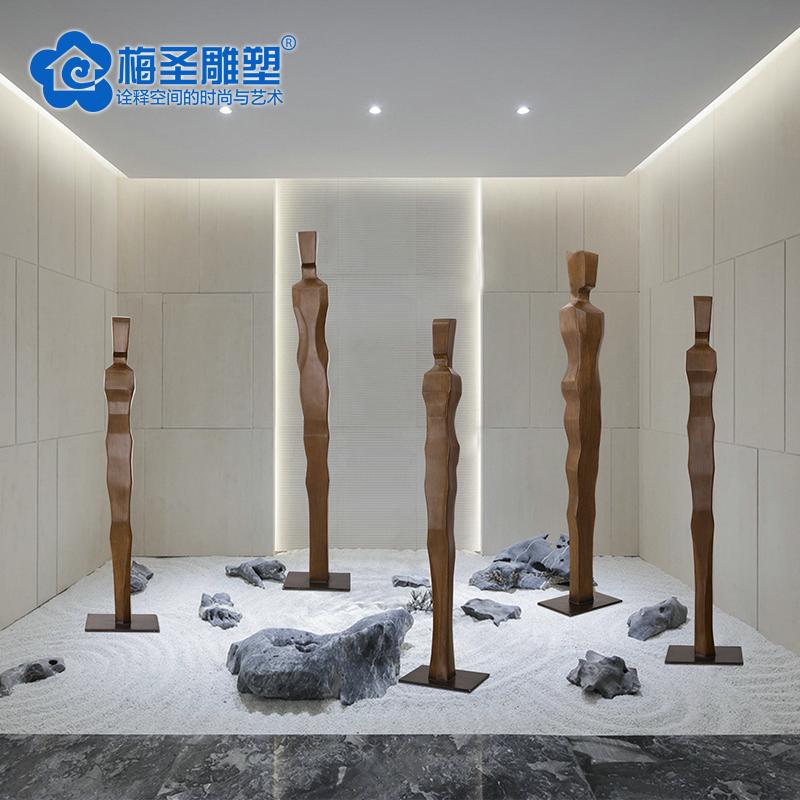 梅圣酒店大堂落地摆件大厅玄关过道雕塑软装工艺品门厅售楼处摆设