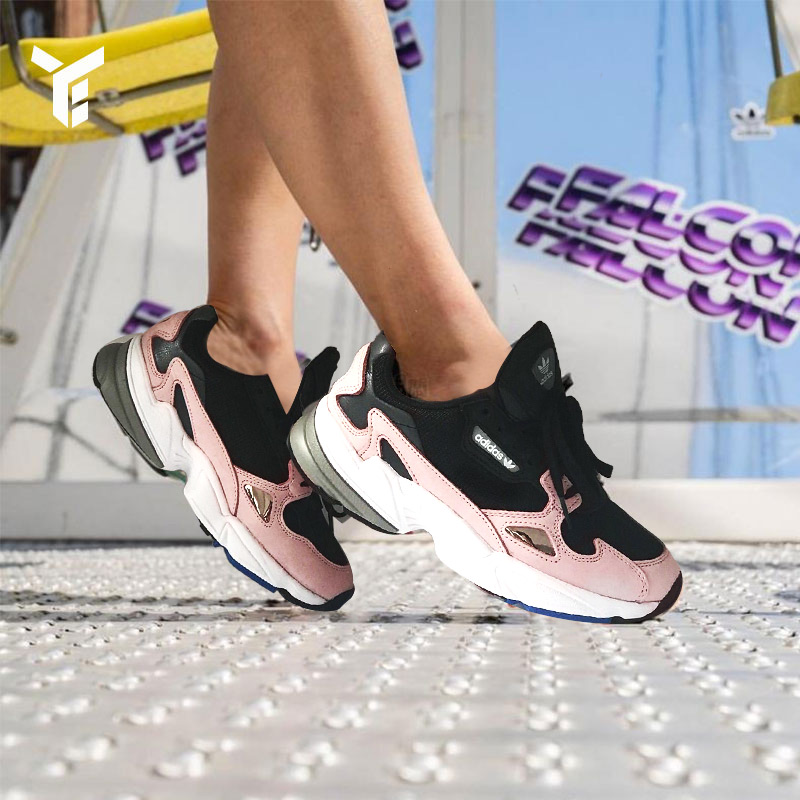 阿迪达斯女鞋三叶草Falcon W复古撞色老爹鞋运动休闲跑步鞋B28126