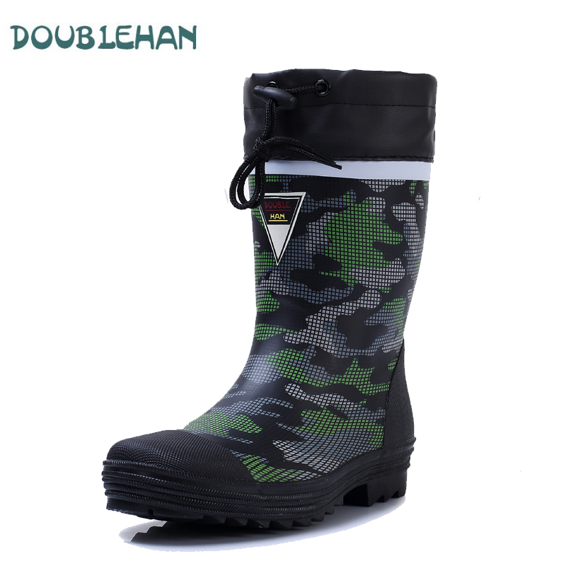 Double han rain boots men 39 s shoes men 39 s rain boots water for Waterproof fishing boots