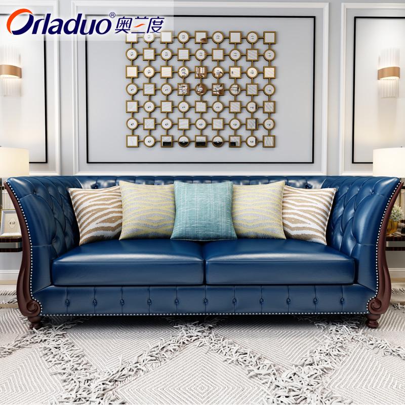 美式头层牛皮轻奢现代简约实木北欧式123组合客厅真皮沙发小户型