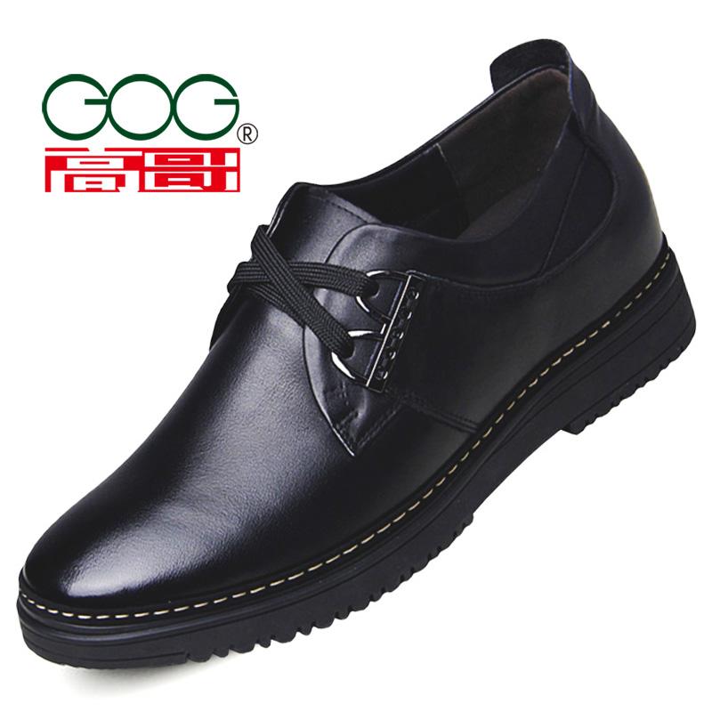 高哥内增高男鞋 男士休闲皮鞋增高6cm软面鞋男式8厘米棉鞋真皮鞋