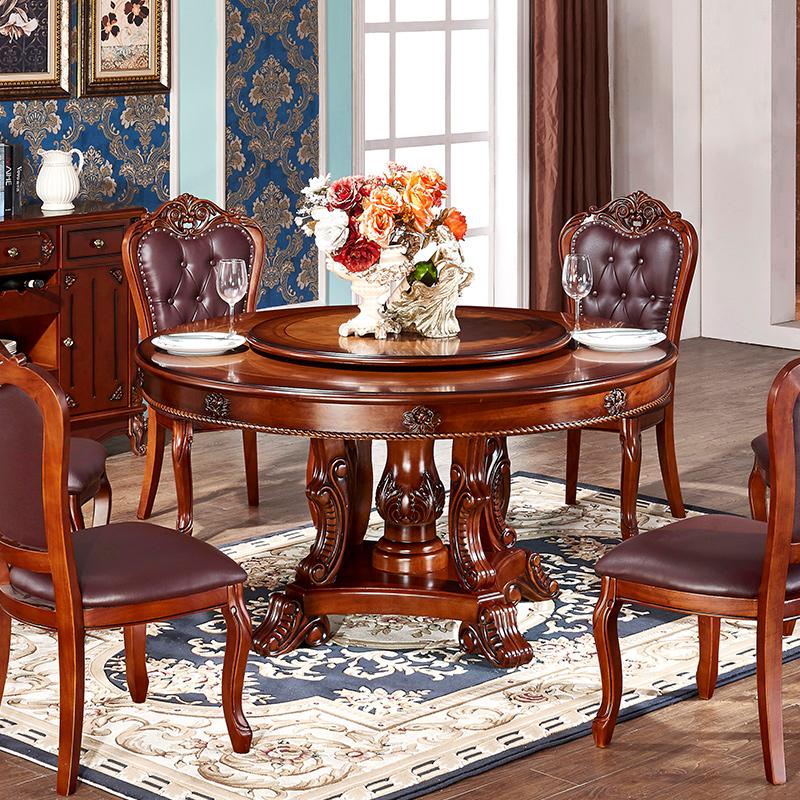 欧式餐桌实木圆桌美式高档桌子饭桌送转盘大理石桌椅组合