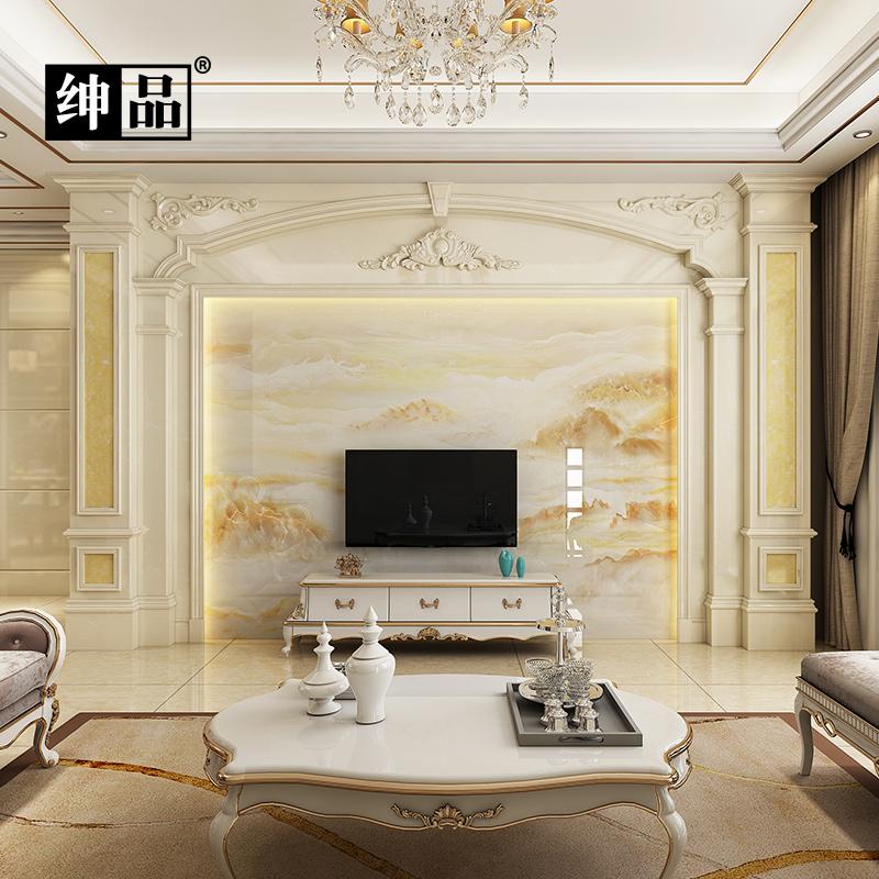 罗马柱电视背景墙瓷砖 客厅现代简约微晶石装饰 简欧大理石护墙板