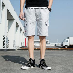 ins夏季工装短裤男宽松日系潮牌五分裤原宿风嘻哈多口袋休闲裤子