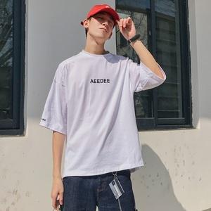 2019夏季怎么免费领红包t恤男士短袖潮牌宽松字母印花宽松圆领韩版潮流半袖