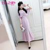 七七之缘2018夏季新品女装 粉紫色披肩蕾丝鱼尾摆雪纺长裙连衣裙