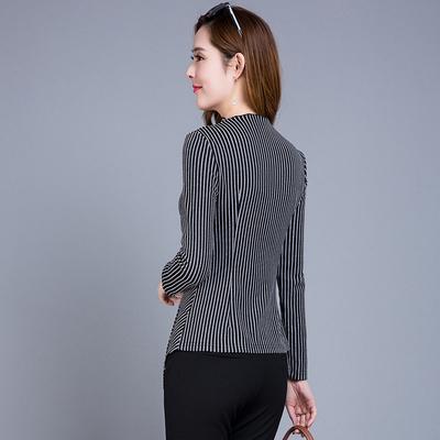 2018春季新款t恤女装中长款条纹打底衫韩版修身显瘦小衫体恤上衣