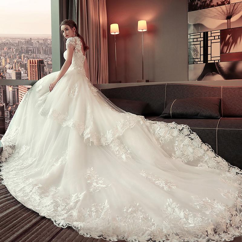 媛菲莎妮婚纱2018新款结婚韩版婚纱礼服新娘显瘦公主长拖尾宫廷