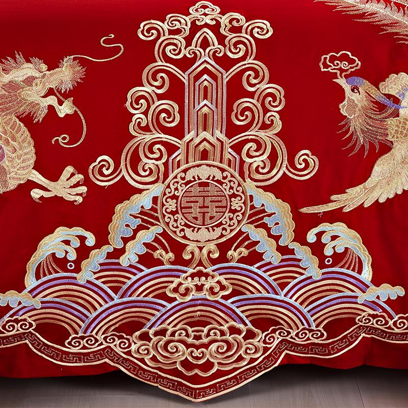 恒源祥婚庆四件套全棉纯棉结婚床上用品大红床单喜被套新婚床品