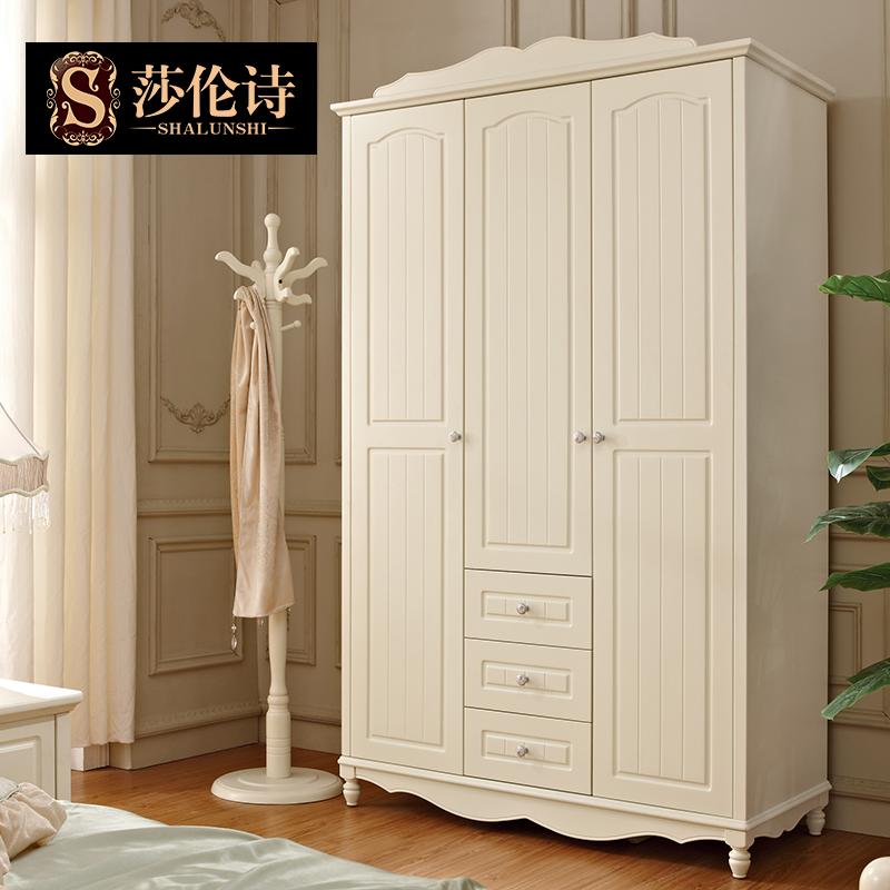 莎伦诗韩欧式三门抽屉收纳衣柜 储物大衣橱简约现代卧室成人组装