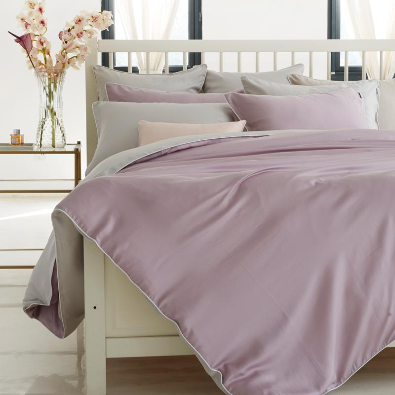 LaSuntin纯色天丝贡缎四件套春夏季床笠式1.8m床上用品双人4套件