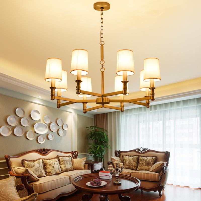 美式乡村客厅吊灯具 复古卧室书房铁艺吊灯 6头简约餐厅吊灯具
