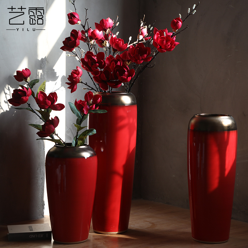 Large vases, ceramic I and contracted the new Chinese style Chinese red red wedding flower arrangement festival furnishing articles to the living room