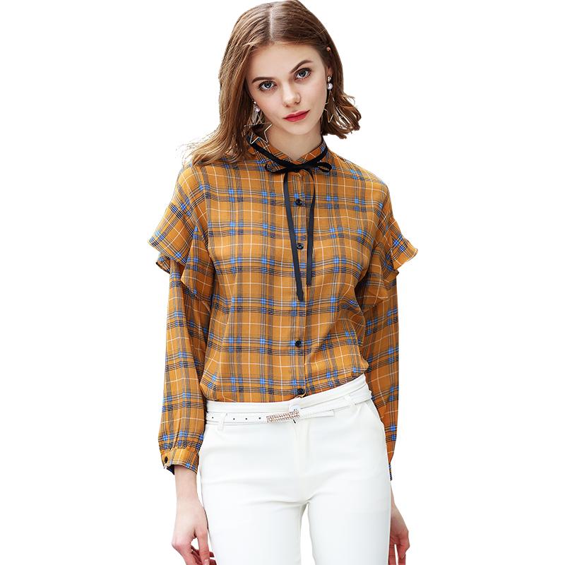 802#格子雪纺衬衫女长袖衬衣春季新款荷叶边系带蝴蝶结打底上衣潮