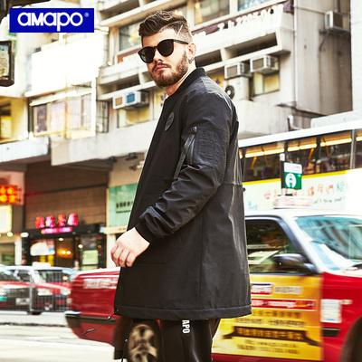CreamSoda AMAPO潮牌大码男装冬季加肥加大码宽松胖子嘻哈中长款棉衣外套男