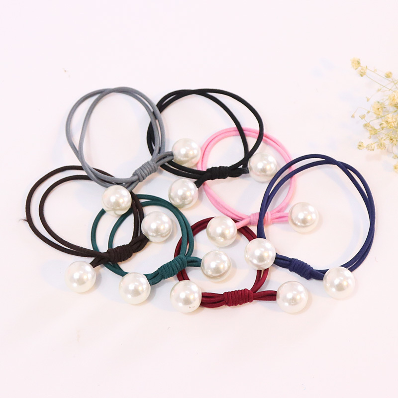Large pearl ring simple hand-knotted leather hair tie hair Korean jewelry hair rope rope rubber band headdress