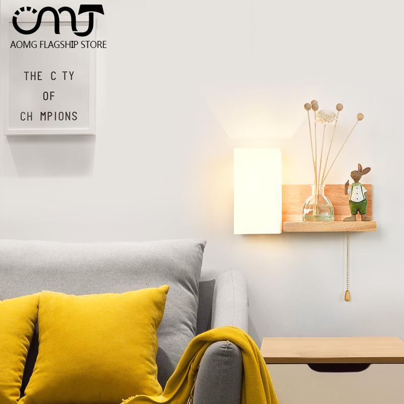 日式实木卧室床头壁灯简约现代创意个性楼梯过道北欧木质客厅壁灯
