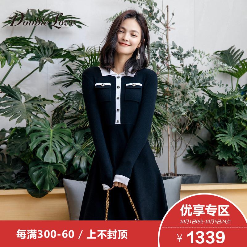 3】Doublelove贝爱2018早秋新款黑白简约含羊毛polo针织连衣裙女