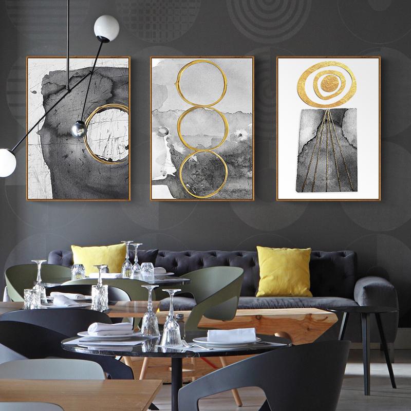 天海画艺抽象装饰画客厅现代简约背景墙壁画玄关挂画竖版三联酒店