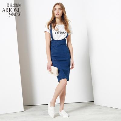 艾诺丝雅诗高腰深色棉质背带裙牛仔裙夏装新品休闲清新中裙