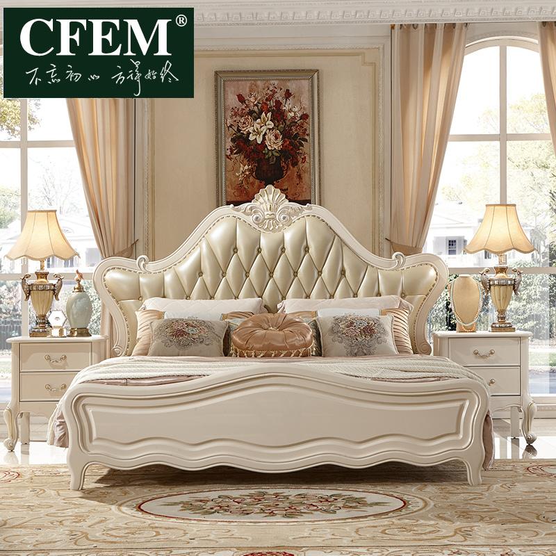 CFEM家具 欧式双人床真皮公主床1.8米婚床主卧大床法式实木床