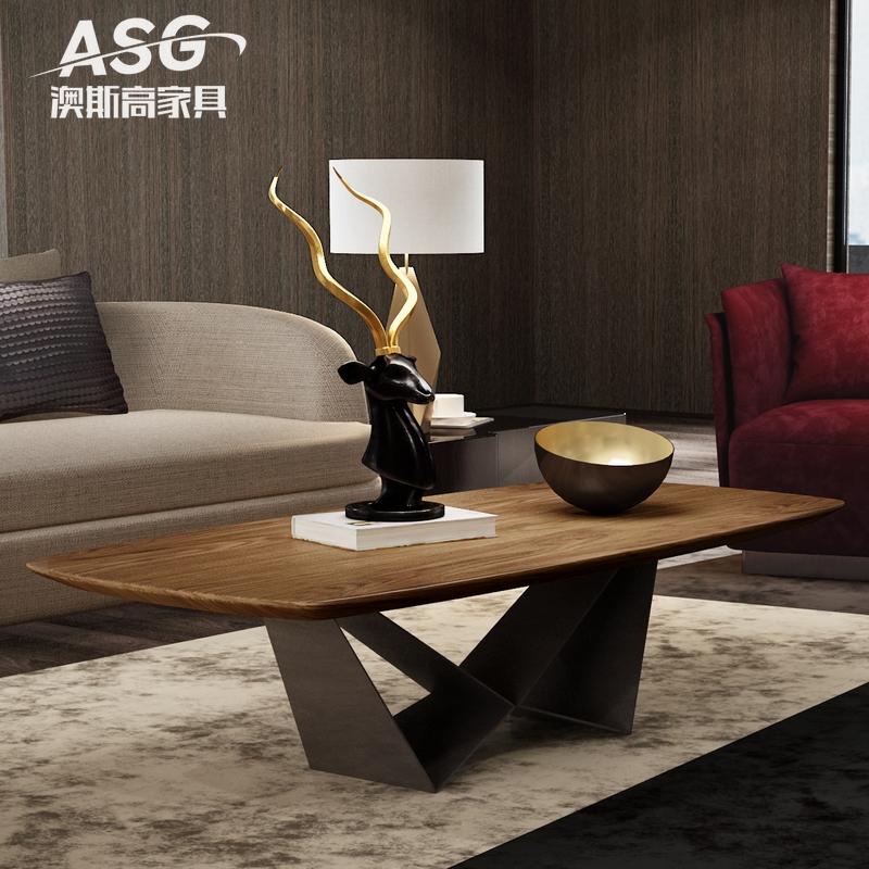 北欧简约茶几 现代时尚设计师家具客厅个性创意工业风胡桃木茶桌