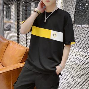 短袖t恤男夏季韩版潮流宽松港风半袖体恤潮牌男士五分袖情侣衣服
