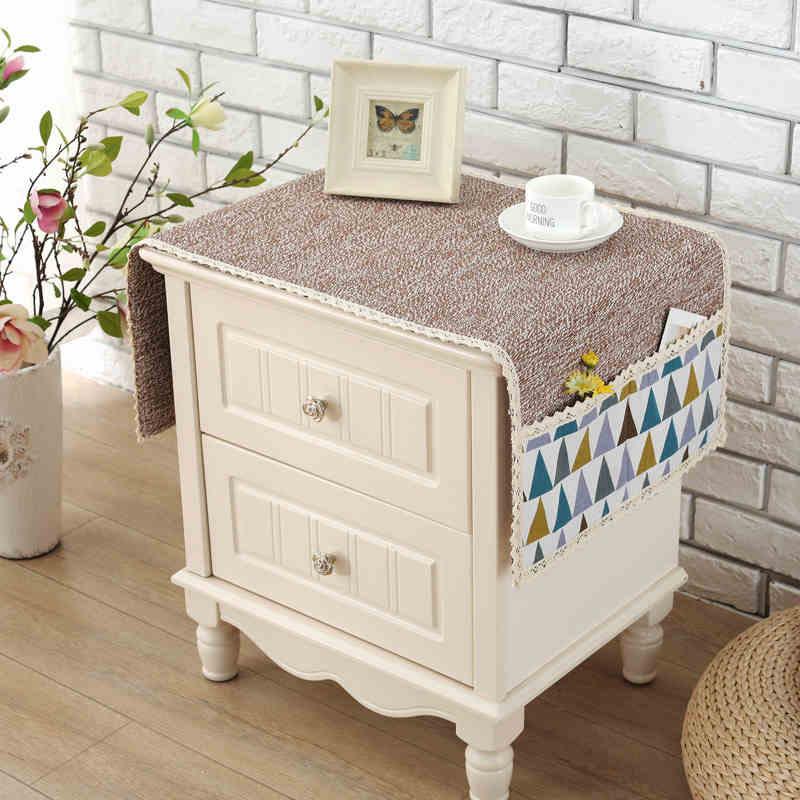 棉线简约床头电视盖布冰箱盖巾小桌布床头柜罩冰箱盖布洗衣机盖布