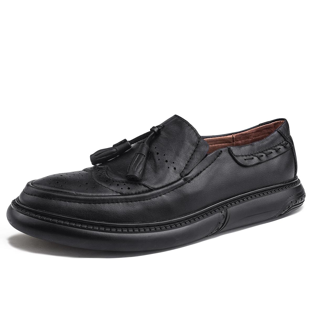 布洛克男鞋真皮英伦小皮鞋复古雕花手工鞋韩版流苏船鞋懒人乐福鞋