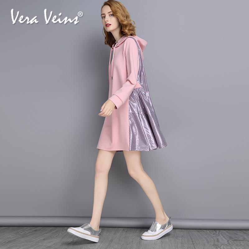 2018秋季新款连帽卫衣式a字裙粉色百搭娃娃款宽松显瘦长袖连衣裙