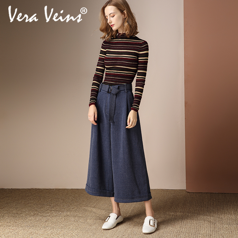 veraveins2018秋冬季新款文艺高腰裤子系带宽松显瘦九分阔腿裤女