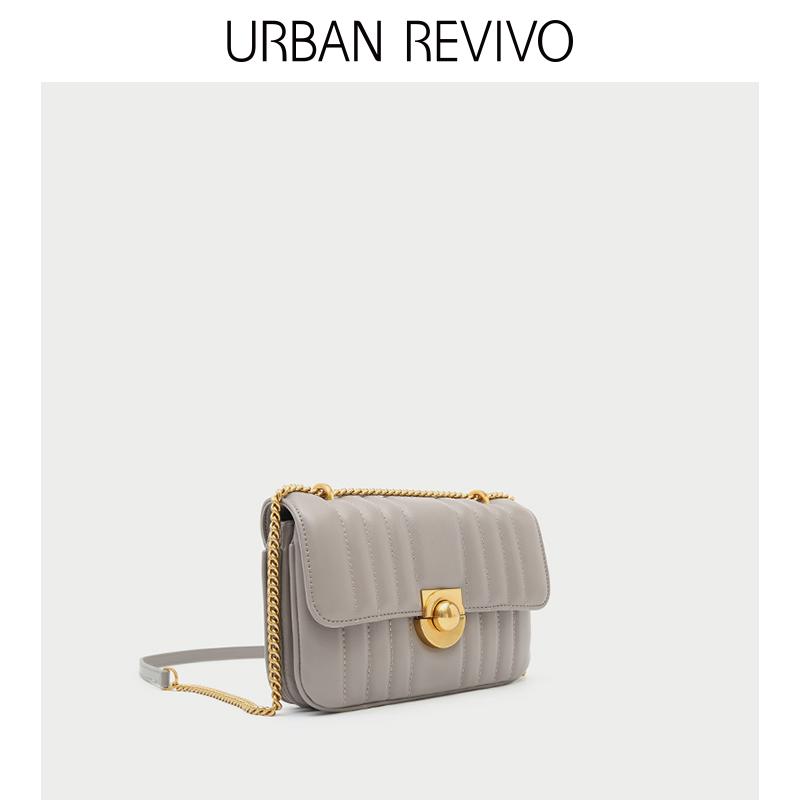 URBAN REVIVO2018秋季新款女士配饰金属扣皮质斜挎包AG34SB4N2010