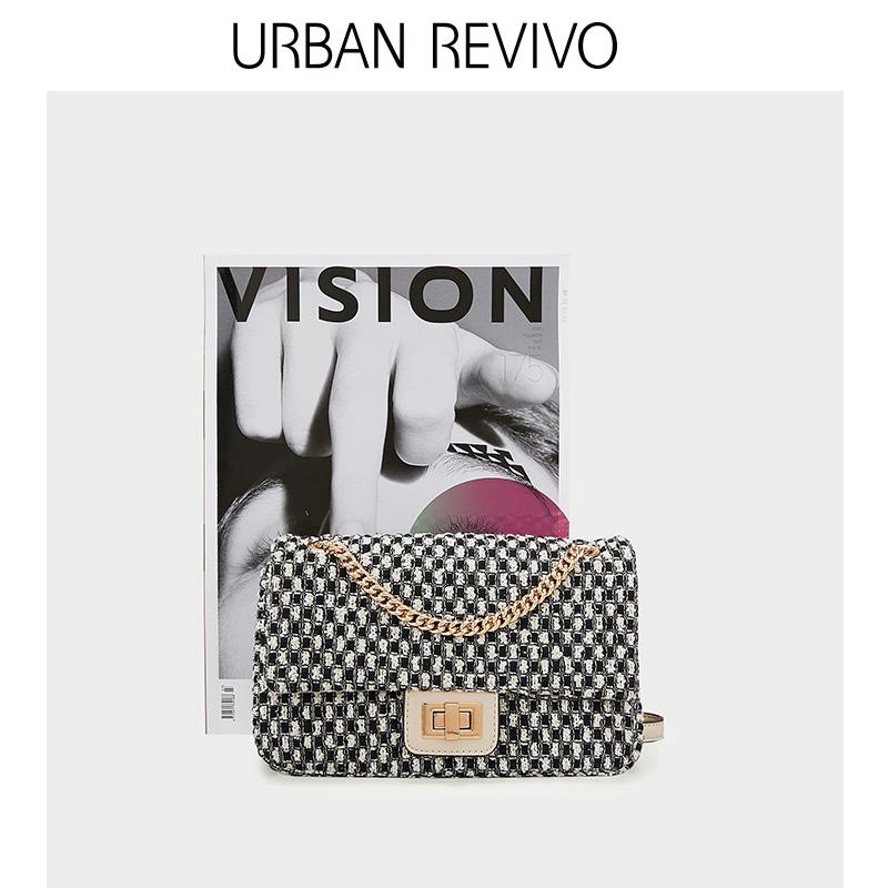 URBAN REVIVO2018秋冬新品女装配饰金属扣饰斜挎包AH36RB4N2000