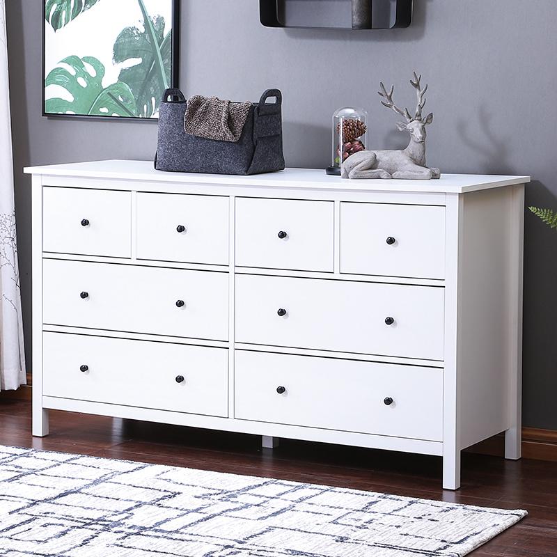 北欧汉尼斯八斗柜 白色美式卧室抽屉收纳柜 现代简约客厅多功能柜