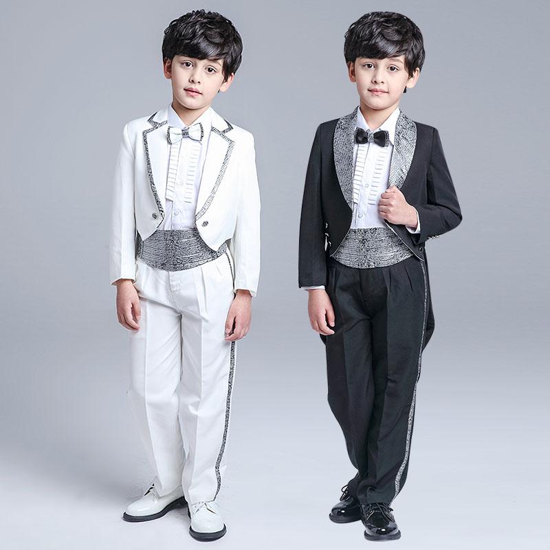 两头塘儿童燕尾服男童礼服套装花童白黑色钢琴表演出服男孩主持人