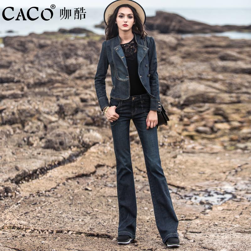 2018秋季新款时尚牛仔套装女气质两件套短款阔腿裤修身外套显瘦潮