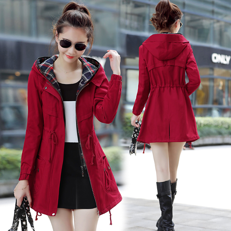 Women's raincoat Подлинный тренч пальто женщин длинный абзац корейской версии осень и зима 2017 новый тонкий был худым дикие случайные весенние и осенние пальто женщин