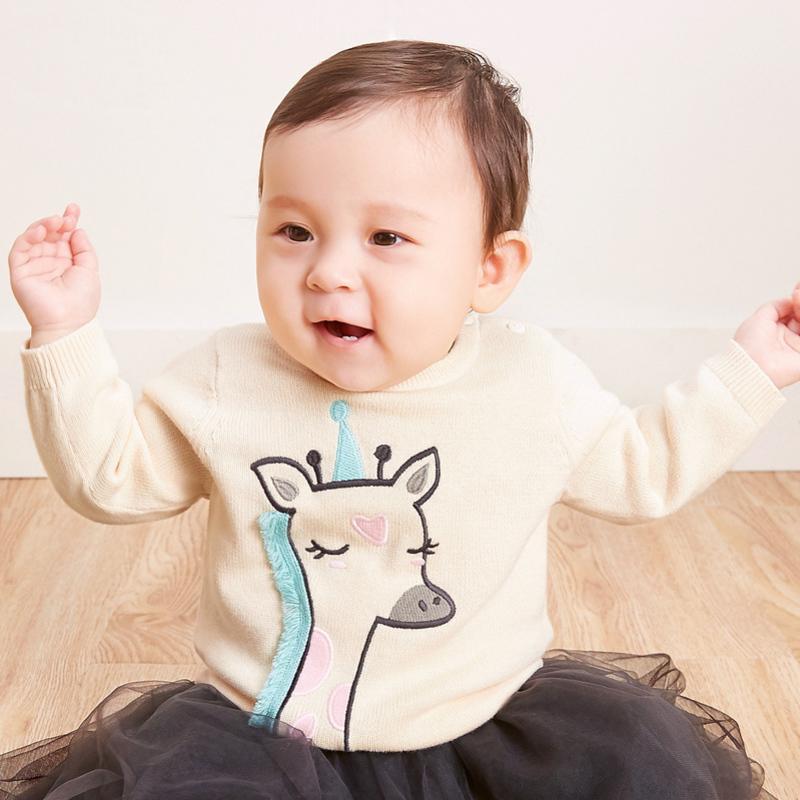 迷你巴拉巴拉女婴儿绣花毛衣2018秋新款童装新生儿宝宝纯棉线衫