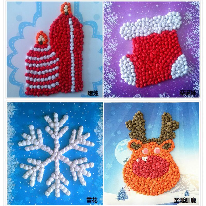 圣诞节手工贴画儿童贴纸创意益智手工贴画diy 圣诞eva贴画 手揉纸