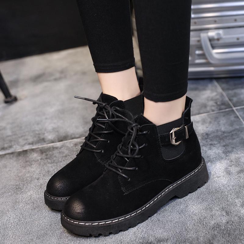 原宿风2017秋冬季新款英伦风复古短靴女学生松糕厚底加绒马丁靴子
